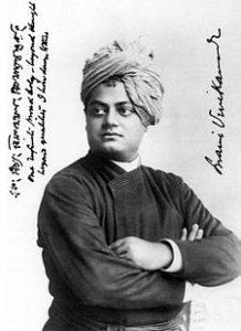 portrait en noir et blanc de Swami Vivekananda