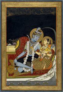 représentation de Shiva et Parvati assis
